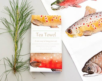 Fish Tea towel, hand painted watercolor art, original art print, lake house decor, rustic decor, gift for him, gift for her, Kitchen decor