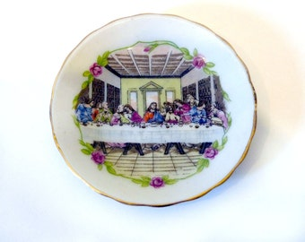 "Small 3"" Jesus Last Supper Painted Decorative Plate"