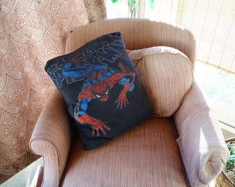 Spiderman pillow, spiderman home decor, spiderman bedding, child's bedding, child's bedroom decor, man cave decor, man cave, superhero decor