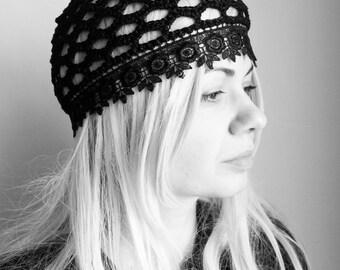 Black chemo Beanie/ Black Lace Crochet hat - Black summer beanie hat-women CROCHET CAP/ hats, skull caps/chemo skullcap/fashionable hats