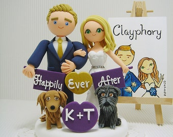 Cute couple and 2 dogs  with the banner custom wedding cake topper.