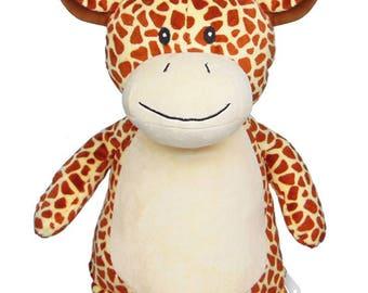 Giraffe, personalised giraffe, baby girl, baby boy, tan birthday, christening, baby gift, soft toy, newborn, teddy bear, baby shower