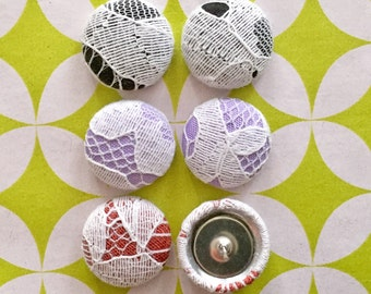 Fabric Button Earrings / Set of 3 / Lace / Wholesale Jewelry / Handmade USA / Hypoallergenic Stud Earrings / Earring Collection / Bulk