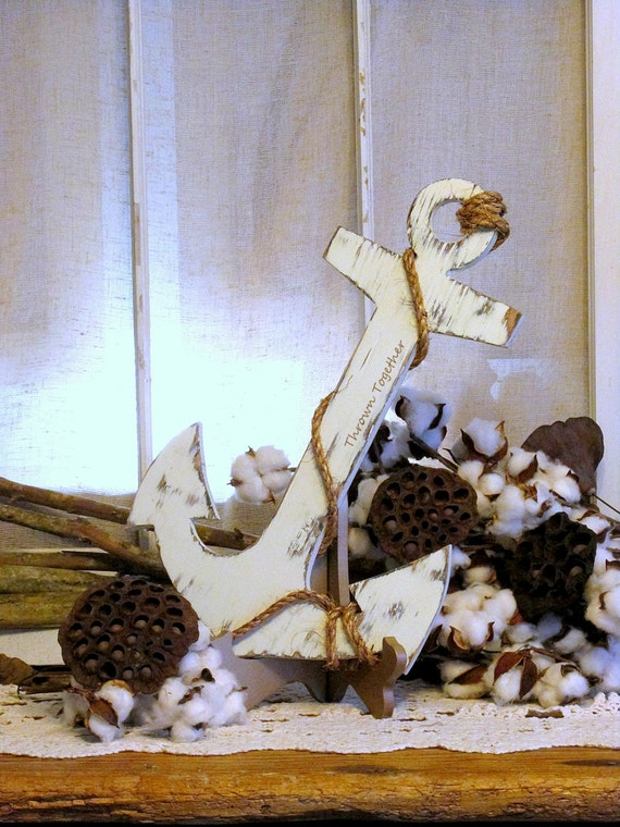 Handmade Rustic Wall Decor : Rustic anchor with rope wood wall decor handmade