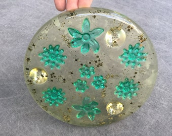 60's Lucite Trivet Mid Century Hot Plate Beautiful Clear Plastic with Aqua Flowers and Gold Confetti