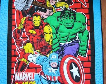"Marvel Avengers Quilt, ""Marvel Comics"" Boy Quilt, Child quilt, Lap Quilt, Wall Hanging, The Hulk, Captain America, Thor, Iron Man  B-88"