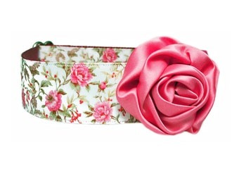 """Dusty Rose Satin Flower Accessory for 5/8"""" / 3/4"""" / 1"""" Dog Collar"""