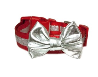 Silver Lame Bow Accessory for Dog Collar