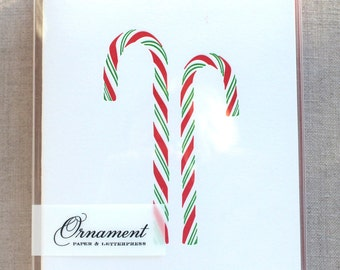 Candy Canes Letterpress Card set