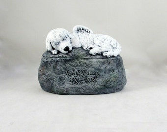 Ceramic Engraved Poodle Mix Painted Cremation Urn - hand made pet urn