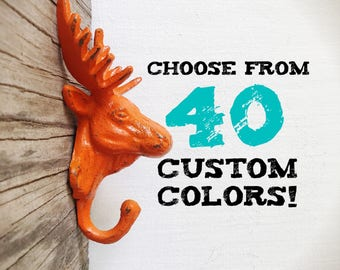 Woodland Playroom Decor / Orange Moose Wall Hook / Animal Head Wall Decor / Wilderness Kids Room Storage / Rustic Coat Hooks For Kids