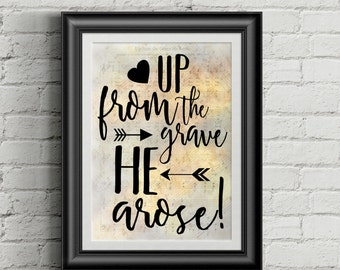 Up From The Grave He Arose Digital Hymn Print