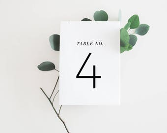 INSTANT DOWNLOAD - Classic Black and White Table Numbers, Big Mont, Printable Cards