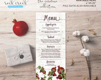 The Caroline Collection Printable Wedding Menu