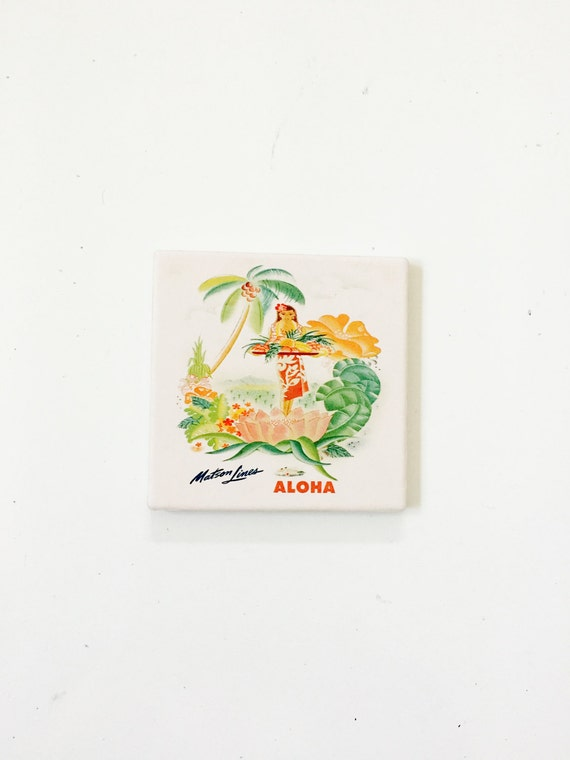 Aloha Coasters / Hula Girl Decor / Hawaii Coasters / Hawaii Gift / Aloha decor /aloha coasters / aloha gifts / vintage