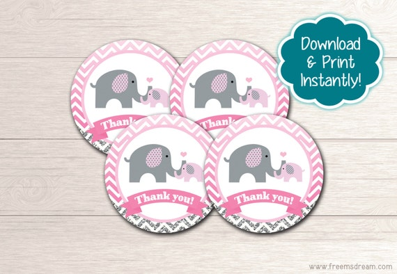 Printable Elephant Baby Shower Thank You Favor Tags Girls Pink