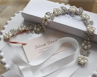 Bridal Tie Headband, Crystal Tiara Headband, Wedding Headpiece, Bradal Tiara, Crystal Bridal Headband,Rhinestone Wedding Hairband