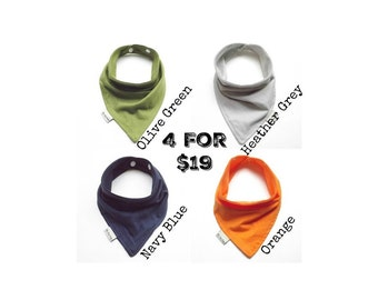 Baby Bandana Bib Scarf Set in Grey, Navy Green, and Orange Knit with Snap Closure for Boy or Girl