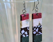 Red White Green Hanji Paper Dangle Earrings OOAK Striped Patchwork Red Forest Green White Brown Flowers Hypoallergenic Lightweight Earrings