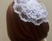 White Lace Doily, Catholic Head Covering, Chapel Hat, Lace Headcovering, Easter Hat