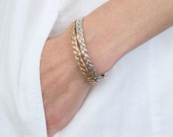 Silver Cuff Bracelet Sterling Silver Cuff Silver Friendship Bracelet Silver Woven Bracelet