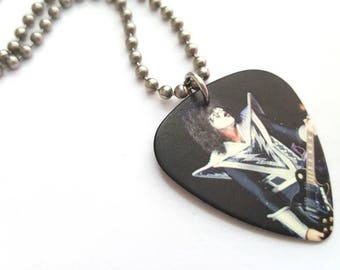 KISS Guitar Pick Necklace with Stainless Steel Ball Chain