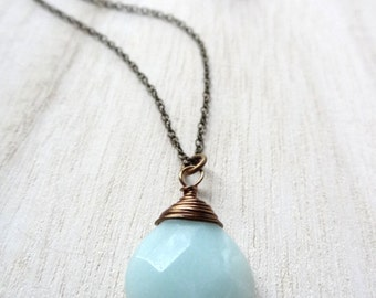 Simple Blue Amazonite Bronze wire wrapped Pendant Necklace