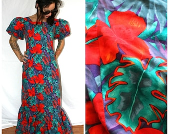 Vintage Tropical Flamenco Dress. Red Floral Long Maxi Dress With Puffy Balloon Sleeves. Womens Formal Cocktail Gown Party Maxi Dress