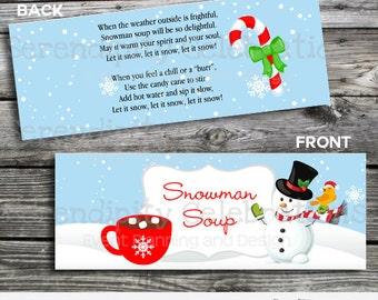 Snowman Soup Bag Topper, Printable Snowman Soup Bag Topper, Snowman soup, Christmas Bag Topper, Instant Download, School Treat, Classroom