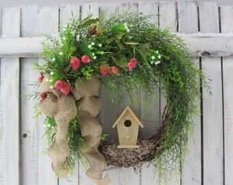Spring Door Wreath - Birdhouse Wreath - Summer Wreath - Country  - Spring Summer Door Wreath - Mothers Day Wreath - Front Door Wreaths