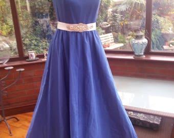 handmade vintage 1960s long deep blue dress evening prom party wedding bridesmaid size uk 10 usa size 6 diamante straps and waist