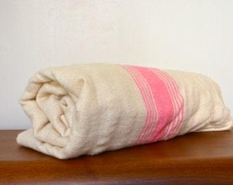 VintagePrimitive Rustic Virgin Wool Blanket. Striped Rose Pink Wool. Antique Two Pieces Wool Bedspread. Canadian Woven Wool Bedding.