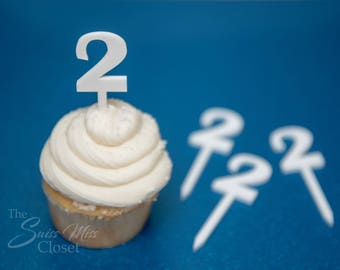 25 White Number Cupcake Toppers Custom Acrylic, Laser Cut Decor Dessert Birthday Party