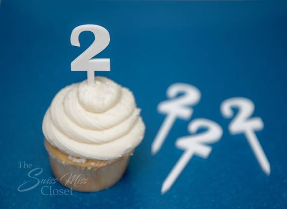 12 White Number Cupcake Toppers Custom Acrylic, Laser Cut Decor Dessert Birthday Party