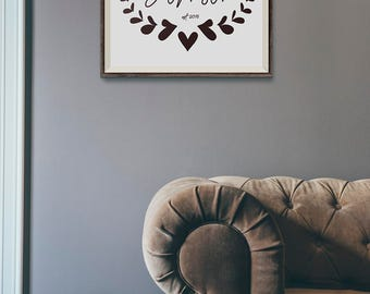 Maroon Custom Family Name Printable Gallery Wall Personalized Dark Red Burgundy Heart Swag Wreath Graphic Poster Print DIY Home Decor