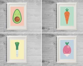 On sale today, Bundle kitchen prints - 20%Off - Kawai vegetables prints - Four kitchen posters - Color kitchen decor - Kitchen set print