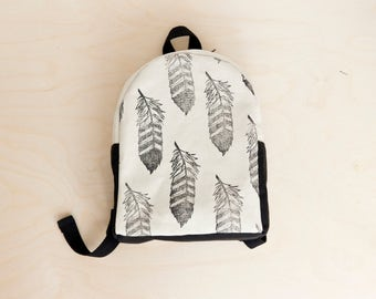 MADE TO ORDER, Customizable,  Toddler backpack, Preschool, Feather print, Tribal, Block printed, Hand stamped