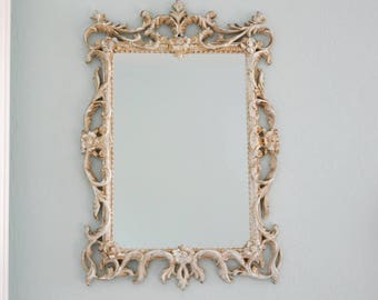 Shabby Chic Mirror Off White Framed Baroque Mirror Vintage Ornate French Farmhouse Distressed Antique Wall Mirror Wedding Decor