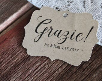 Wedding Favor Tag, Grazie Bracket Tag, Thank You, Favor Tag, Gift Tag, Weddings