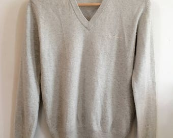 Pierre Cardin Vintage Soft Grey Cashmere Sweater Size Small