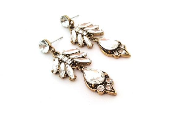 Bronze Rhinestone Chandelier Drop Earrings -  Antiqued Brass Glam Earrings - Rhinestone CZ Earrings - Bold Accessories - Gift for Her