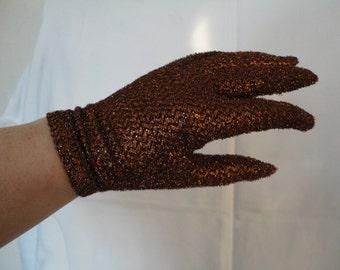 Vintage Bronze Lurex Nylon Wrist Gloves by Cornelia James - 1970s - Size UK 7 - Mod/Gogo/Disco/Dancing Queen - Rare