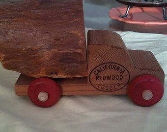 Vintage Souvenir Advertising California Redwood Logger Wooden Toy Truck With Log