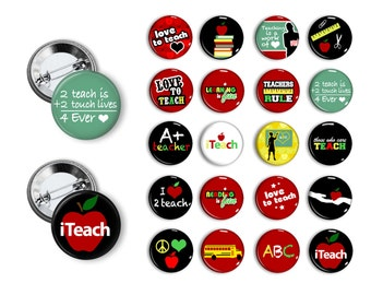 Teacher Pins School Teacher buttons 1.25 inch pinback buttons School Teacher Gift buttons pins badges magnets