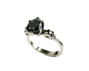 Womans Skull Ring Skull Engagement Ring Promise Ring Love to Death Black Spinel Goth Ring Bone Black Memento Mori Ring Sterling All Sizes