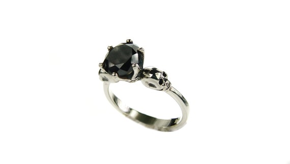 Black Stone Skull Ring Skull Engagement Ring Black Spinel Goth Ring Bone Black Gemstone Memento Mori Ring Rocking Sterling Ring All Sizes
