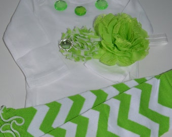 Green Infant Onesie with Legwarmers and Headband