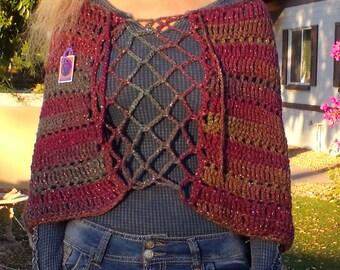 Crochet Original Renaissance Style Openwork Multi-Yarn Wrap/Shawl
