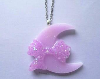 Pink Glitter Bow Moon Necklace- Kawaii- Gothic- Pastel Goth- Gothic Lolita-JFashion- Harajuku- Fairy Kei- Creepy Cute