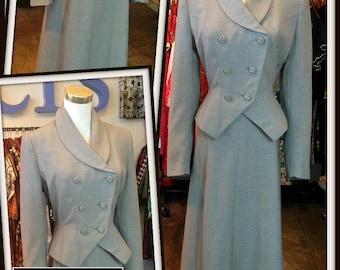 Vintage Dove Gray Jacket Skirt Set Suit Balenciaga Dan Millstein FREE SHIPPING